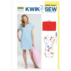 K3552 Sleep Shirt and Pillowcase (size: XS-S-M-L-XL)