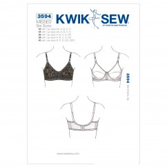 K3594 Bra (size: 32 with cup sizes AA, A, B, C, D; 34 with cup sizes AA, A, B, C, D; 36 with cup sizes A, B, C, D, DD; 38 with cup sizes A, B, C, D, DD; 40 with cup sizes B, C, D, DD, DDD)