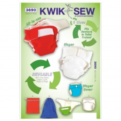K3690 Diapers, Diaper Cover, Insert & Bags (size: XS-S-M-L-XL; Bag Sizes: S-M-L)