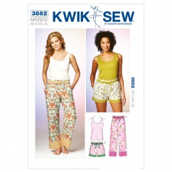 K3882 Sleep Pants, Shorts & Top (size: XS-S-M-L-XL)