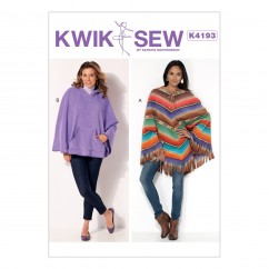 K4193 Misses' Lace-Up or Hooded Ponchos with Fringe or Kangaroo Pocket (size: XS-S-M-L-XL)