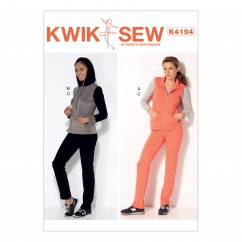 K4194 Misses' Stand-Up Collar Vest, Jacket with Hood, and Pull-On Pants (size: XS-S-M-L-XL)