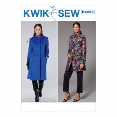 K4225 Misses' Princess Seam Jacket and Coat with High Collar (size: XS-S-M-L-XL)