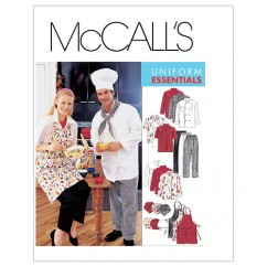 M2233 Misses' and Men's Jacket, Shirt, Apron, Pull-On Pants, Neckerchief and Hat (size: SMALL)