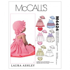 M4424 Infants' Dresses, Rompers, Panties and Hat (size: All Sizes In One Envelope)