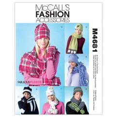 M4681 Misses' Hats, Scarves and Convertible Mittens (size: All Sizes In One Envelope)