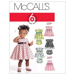 M5791 Infants' Lined Dresses, Panties and Headband (size: All Sizes In One Envelope)
