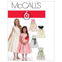 M5795 Children's/Girls' Lined Dresses and Sash (size: 7-8-10-12-14)