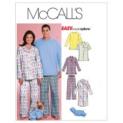 M5992 Misses'/Men's/Teen Boys' Tops, Nightshirt, Pants and Sweatsuit For Dog (size: XSM-SML-MED)