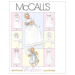 M6221 Infants' Christening Gown, Rompers With Snap Crotch In 2 Lengths and Bonnets (size: All Sizes In One Envelope)
