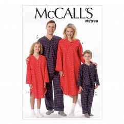 M7299 Misses'/Men's/Boys'/Girls' Top, Nightshirt and Pants (size: SML-MED-LRG-XLG)