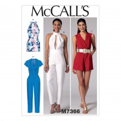 M7366 Misses' Pleated Surplice or Plunging-Neckline Rompers, Jumpsuits and Belt (size: 14-16-18-20-22)