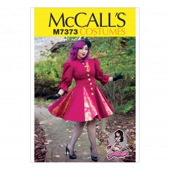 M7373 Fit and Flare or Godet Coats with Stand-Up Collar (size: 6-8-10-12-14)