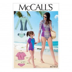 M7417 Misses'/Girls' Swimsuits (size: 3-4-5-6-7-8)