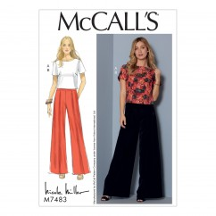 M7483 Misses' Short Sleeve Top and Pleated, Wide-Leg Pants (size: 6-8-10-12-14)
