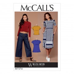 M7574 Misses' Knit, Raglan Sleeve Pullover Tops, Tunic, and Dress (size: 6-8-10-12-14)