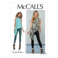 M7579 Misses' Asymmetrical, Seam-Detail Top and Pants (size: 14-16-18-20-22)