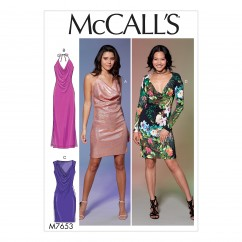 M7653 Misses' Draped Front, Side-Panel Dresses (size: All Sizes in One Envelope)