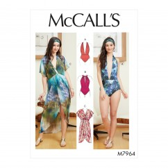 M7964 Misses' Swimsuit and Cover-Up (size: S-M-L-XL)
