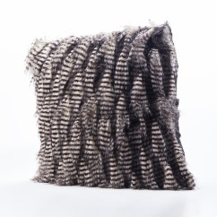 Decorative fur cushion - Jacquard - Grey - 18 x 18''