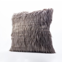 Decorative fur cushion - Swallow A - Grey - 18 x 18''