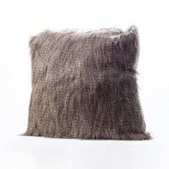 Decorative fur cushion - Swallow B - Grey - 18 x 18''