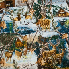 In the Woods Cotton Print - Deer / Cabin - Brown