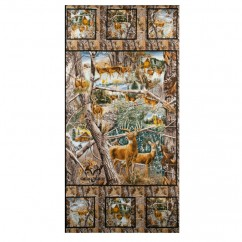 In the Woods Cotton Print - Deer panel - Brown