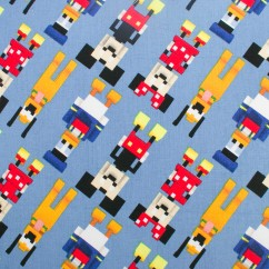 Licensed Cotton Print - Disney Pluto / Donald and Mickey - Blue