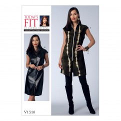 V1510 Misses' Zip-Front Tunic and Dress (size: One Size Only)