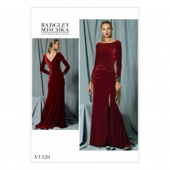 V1520 Misses' Side-Gathered, Long Sleeve Dress with Beaded Cuffs (size: 6-8-10-12-14)