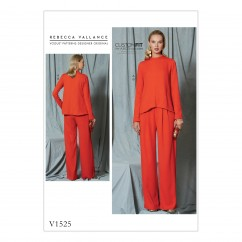 V1525 Misses' Diagonal-Seam Top and Pleated Pants (size: 6-8-10-12-14)