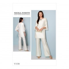 V1538 Misses' Ruffle-Sleeve Tunic and Bootcut Jumpsuit (size: 14-16-18-20-22)