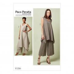 V1550 Misses' Pullover Tunic with Uneven Hem and Wide-Leg Pants (size: 14-16-18-20-22)