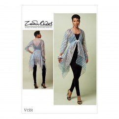 V1551 Misses' Tie-Front Cover-Up with Peplum-Style Tiers (size: 16-18-20-22-24-26)