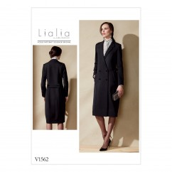 V1562 Misses' Double-Breasted Lined Coat with Back Belt (size: 14-16-18-20-22)