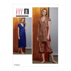 V1611 Misses' Nightgown and Pants (size: A-B-C-D-E-F-G-H-I-J)