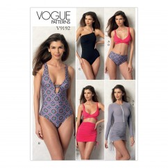 V9192 Misses' Wrap-Top Bikini, One-Piece Swimsuits, and Cover-Ups (size: 6-8-10-12-14)