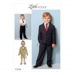 V9248 Children's/Boys' Two-Button Jacket, and Flat-Front Shorts and Pants (size: 2-3-4-5)