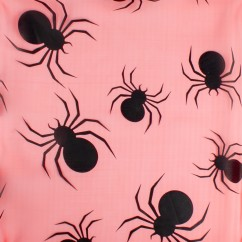 Halloween Foil Organza - Spider - Red