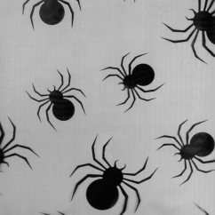 Halloween Foil Organza - Spider - Black