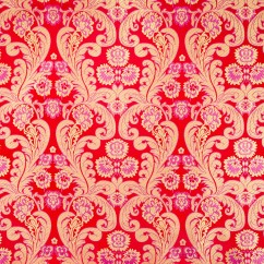 Chinese Brocade - Feathers - red / gold