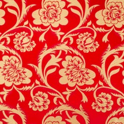 Chinese Brocade - Peony - red / gold