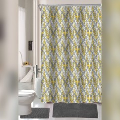 15 Pieces Bath Mat Floor Mat Set with Shower Curtain - Yellow & White Geometric Leaves