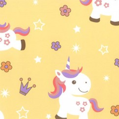 Abbey Printed Flannelette - Baby Unicorns - Yellow
