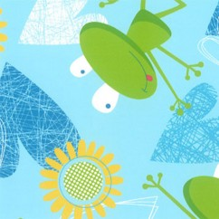 Abbey Printed Flannelette - Frog - Blue