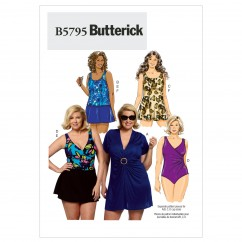 B5795 Women's Cover-Up, Top, Swimdress, Swimsuit, Skirt and Briefs (size: 26W-28W-30W-32W)