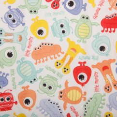 BABYVILLE BOUTIQUE WATERPROOF PUL FABRIC MONSTERS MULTI COL 165CM (64 INCHES)