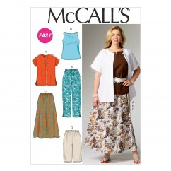 M6970 Women's Shirt, Top, Skirt and Pants (size: 26W-28W-30W-32W)