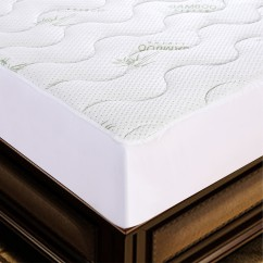 Waterproof Bamboo Quilted Mattress Pad - White